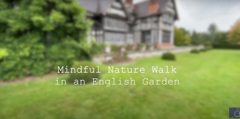 Mindful Nature Walk in an English Garden with Relaxing Rain