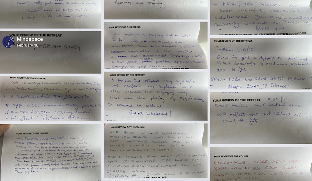 Hand written reviews from Mindspace Classes